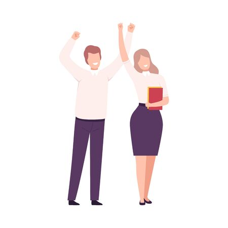 Business People Celebrating Victory, Successful Managers Characters Dressed in Business Clothes Standing with Their Hands Up Flat Vector Illustration Vector Illustratie