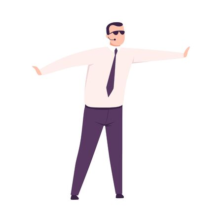 Male Security Guard Character, Man in Business Clothing, Sunglasses and Headset Flat Vector Illustration Illustration