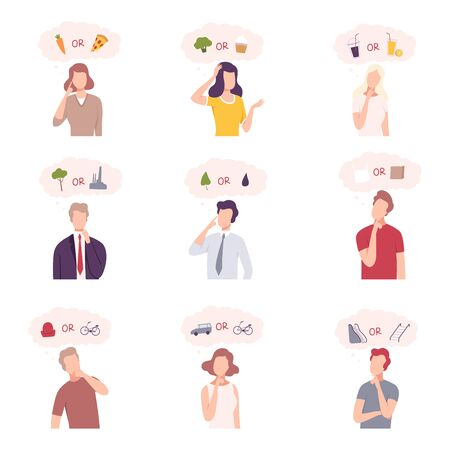 People Trying to Make Decisions Set, Men and Women Thinking about Environmental Protection, Healthy and Unhealthy Food and Lifestyle Flat Vector Illustration