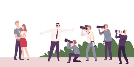 Celebrity Couple Posing to Paparazzi, Photographers with Cameras Photographing at Movie Festival, Premiere, Ceremony Show, Party for Famous People Flat Vector Illustration