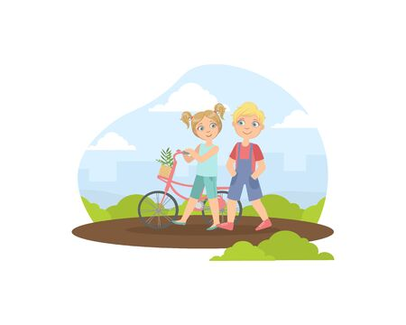 Boy and Girl Walking with Bicycle, Friendship and Love Between Kids, Happy Valentine Day Vector illustration  イラスト・ベクター素材