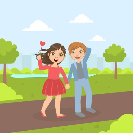 Cute Happy Boy and Girl Walking in the Perk, Friendship and Love Between Kids, Happy Valentine Day Cartoon Vector illustration.
