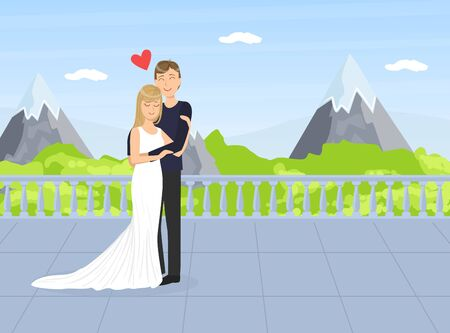 Wedding Day, Happy Just Married Couple, Romantic Bride and Groom Hugging on Mountain Landscape Vector Illustration in Flat Style.