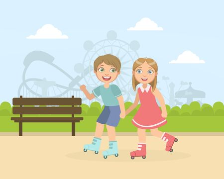 Boy and Girl Rollerblading in the Park, Friendship and Love Between Kids, Happy Valentine Day Cartoon Vector illustration.