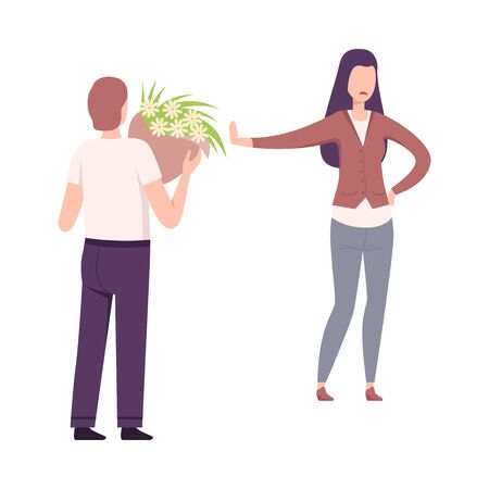 Woman Rejecting Feelings of Loving Man, Young Man Holding Bouquet of Flowers Flat Vector Illustration