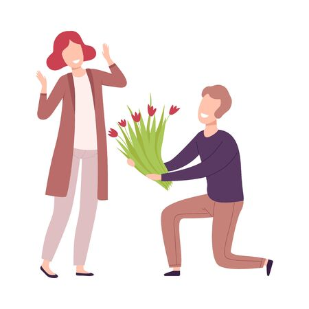 Man Kneeling Down Giving Bouquet of Flowers to Beautiful Young Woman, Romantic Couple in Love on Date, Marriage Proposal Flat Vector Illustration