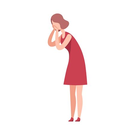 Beautiful Young Woman overing her Face with her Hands, Happy Attractive Girl Character Wearing Red Dress Flat Vector Illustration Illusztráció