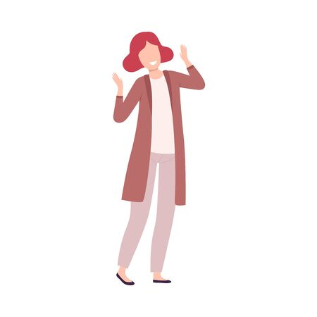 Happy Young Woman, Happy Attractive Girl Character Wearing Casual Stylish Clothes Flat Vector Illustration Illusztráció