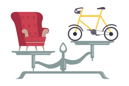 Armchair is on One Side of Scale, Bicycle on the Other, Scales with Bad and Good Habits, Choosing Between Healthy and Unhealthy Lifestyle Flat Vector Illustration on White Background.
