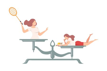 Young Woman with Tennis Racket is on One Side of Scale, Girl Eating Fast Food on the Other, Scales with Bad and Good Habits, Choosing Between Healthy and Unhealthy Lifestyle Flat Vector Illustration