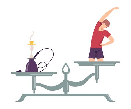 Hookah is on One Side of Scale, Exercising Man on the Other, Scales with Bad and Good Habits, Choosing Between Healthy and Unhealthy Lifestyle Flat Vector Illustration