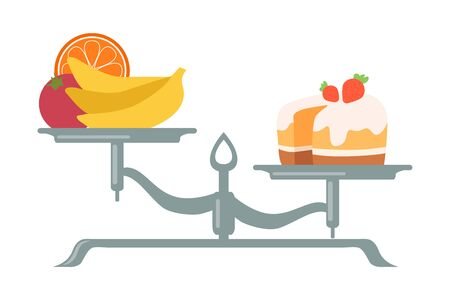 Fresh Fruits and Vegetables are on One Side of Scale, Sweet Dessert on the Other, Scales with Bad and Good Habits, Choosing Between Healthy and Unhealthy Lifestyle Flat Vector Illustration