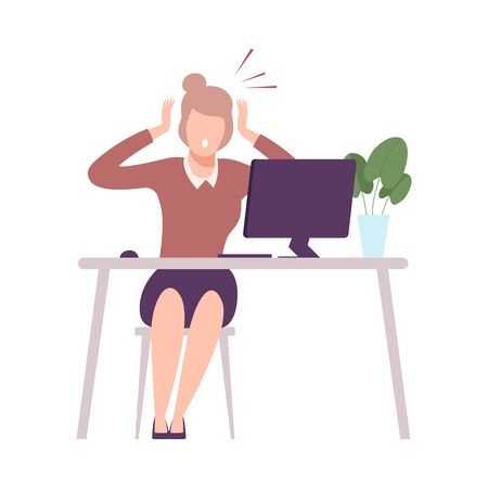 Stressed Businesswoman Sitting at the Desk Working at Computer, Young Woman Looking Scared into Computer Screen Flat Vector Illustration