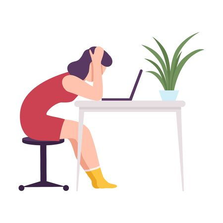 Stressed Businesswoman Sitting at the Desk Working at Computer Grabbing her Head Flat Vector Illustration