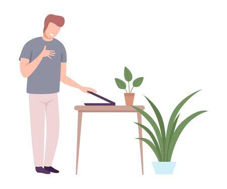 Shocked Young Man Closing His Laptop Computer Flat Vector Illustration