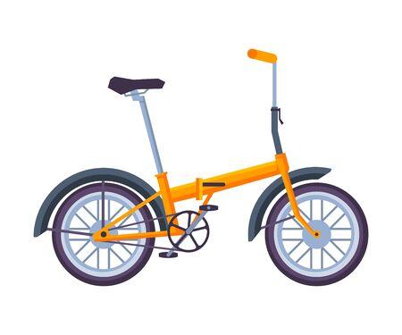 Folding Bicycle, Ecological Sport Transport, Orange Bike Side View Flat Vector Illustration