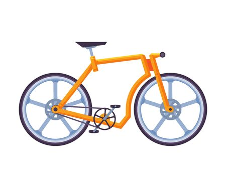 Modern Bicycle, Ecological Sport Transport, Orange Bike Side View Flat Vector Illustration