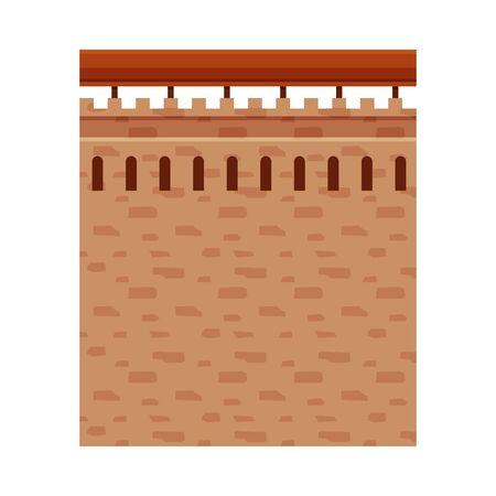 Stone Castle Wall, Element of Ancient Medieval Fortress Vector Illustration Illusztráció