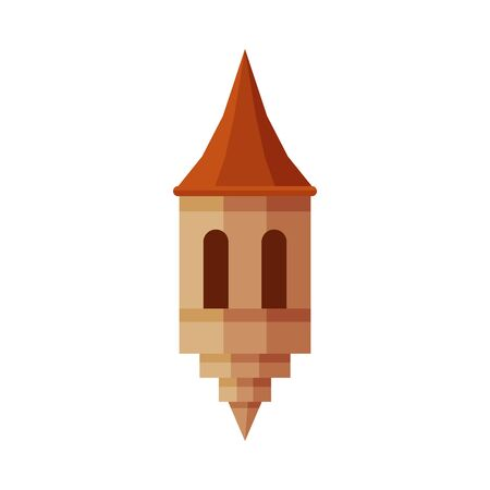 Part of Castle Tower, Medieval Ancient Fortress Element Vector Illustration
