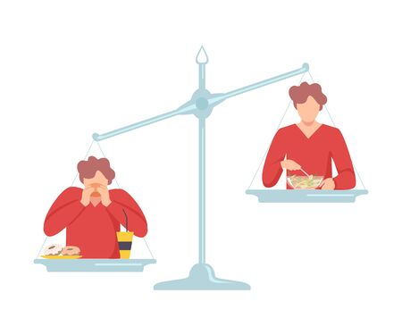 Fat Man Eating Fast Food is on One Side of Scales, Guy with Healthy Food on the Other, Bad and Good Habits, Choosing Between Healthy and Unhealthy Lifestyle Flat Vector Illustration