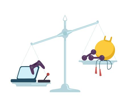 Computer Game Equipment is on One Side of Scales, Sports Equipment on the Other, Bad and Good Habits, Choosing Between Healthy and Unhealthy Lifestyle Flat Vector Illustration Illustration