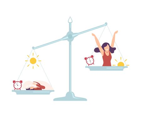 Sleepyhead Girl on One Side of Scales, Early Riser Girl on the Other, Bad and Good Habits, Choosing Between Healthy and Unhealthy Lifestyle Flat Vector Illustration