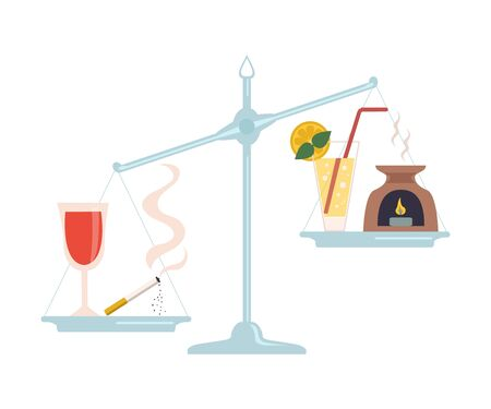 Glass of Wine and Cigarette are on One Side of Scale, Healthy Drink and Aroma Lamp on the Other, Scales with Bad and Good Habits, Choosing Between Healthy and Unhealthy Lifestyle Flat Vector Illustration on White Background.