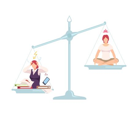 Stressed Businesswoman is on One Side of Scale, Meditating Woman in Lotus Position on the Other, Bad and Good Habits, Choosing Between Healthy and Unhealthy Lifestyle Flat Vector Illustration Illustration