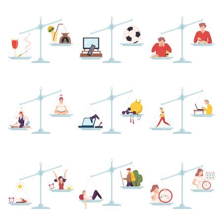 Collection of Scales with Bad and Good Habits, Choosing Between Healthy and Unhealthy Lifestyle Flat Vector Illustration