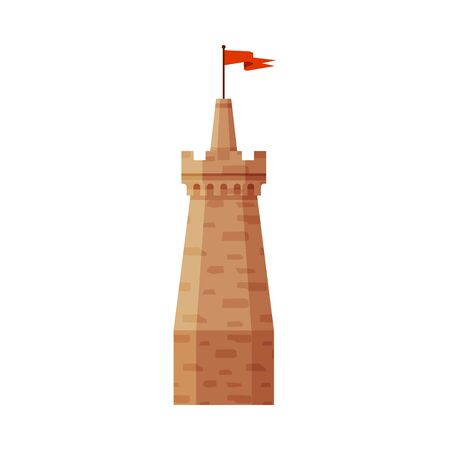 Castle Tower with Flag, Part of Medieval Ancient Stone Fortress Vector Illustration