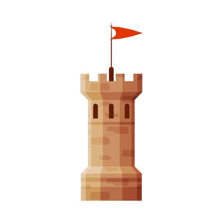 Castle Tower with Flag, Element of Medieval Stone Fortress Vector Illustration