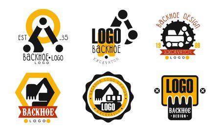 Backhoe Design Collection, Excavator Construction Equipment Retro Badges Vector Illustration on White Background Vecteurs