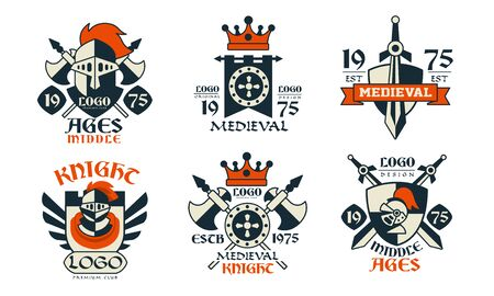 Middle Ages   Design Collection, Medieval Knight Premium Club Badges Vector Illustration on White Background Stock Illustratie