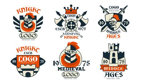 Medieval   Design Collection, Middle Ages Knight Club Badges Vector Illustration on White Background