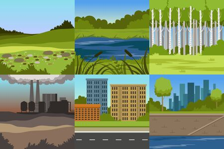 Collection of Sceneries of Urban and Natural Landscapes, Summer Backgrounds with Lake, Hills, Industrial Plant and City Buildings Vector Illustration in Flat Style.
