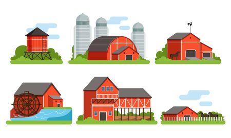 Agricultural Buildings Collection, Countryside Life and Industrial Objects, Farm House, Barn, Silo Towers, Water Mill, Vector Illustration on White Background Ilustracja