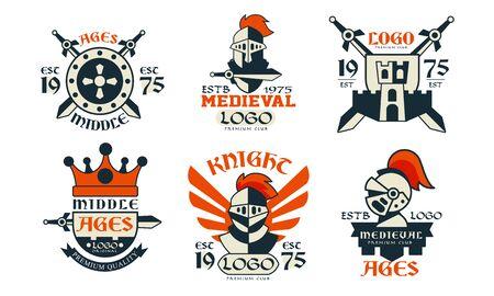 Middle Ages   Design Collection, Medieval Premium Club Badges Vector Illustration Stock Illustratie