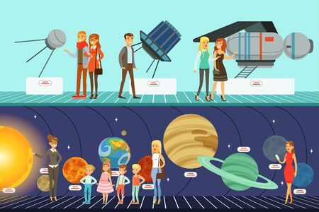 People at Science Exhibitions, Visitors Learning About Stars, Planets and Solar System at Excursion in Planetarium Vector Illustration