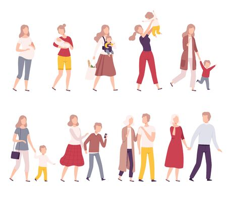 Stages of Family Development Set, Mother with Her Growing Daughter, Happy Parenthood Flat Vector Illustration on White Background.