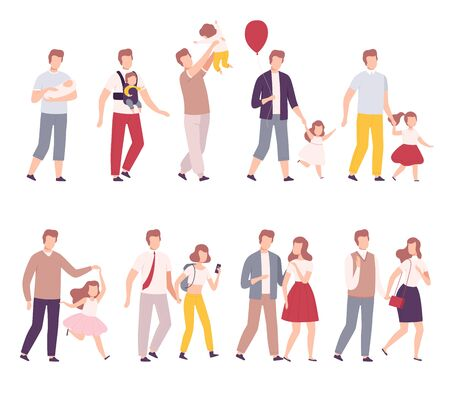 Stages of Family Development Set, Father with His Growing Daughter, Happy Parenthood Flat Vector Illustration on White Background.