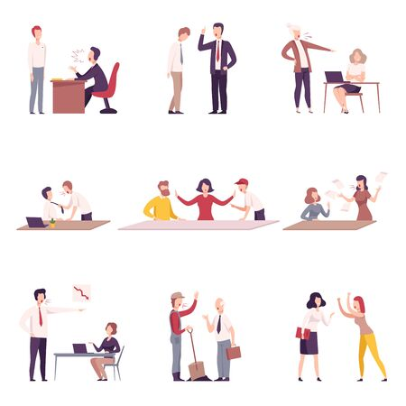 Bosses Threatening and Yelling to Office Workers Set, Stressful Working Environment Flat Vector Illustration