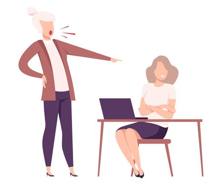 Rude Female Boss Threatening and Yelling to Female Office Worker, Frightened Employee Shocked by Furious Manager, Stressful Working Environment Flat Vector Illustration