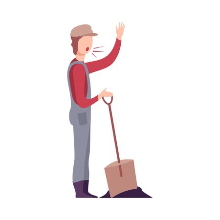Angry Male Worker Handyman Character with Shovel Yelling Flat Vector Illustration