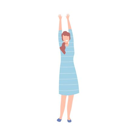Beautiful Woman in Light Blue Dress with Raising Hands, Female Character Dancing at Party, Having Fun or Celebrating Success Flat Vector Illustration on White Background.