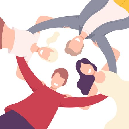 Group of Happy People Embracing Together in Circle, View from the Bottom Flat Vector Illustration Ilustração