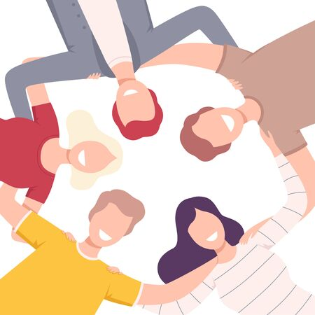 Group of Happy People Standing Together Forming Circle, Low Angle View Flat Vector Illustration