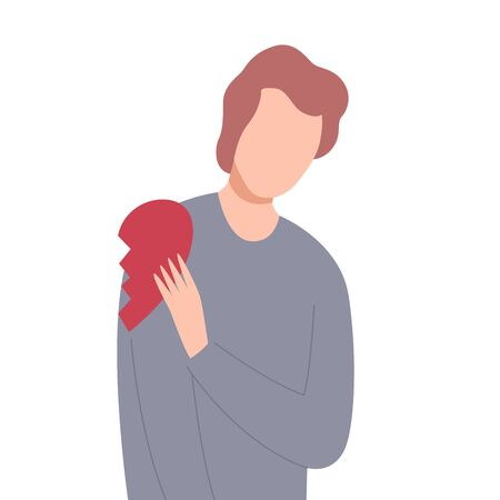 Lonely Frustrated Man with Half of Broken Heart, Unrequited Love Flat Vector Illustration Vettoriali