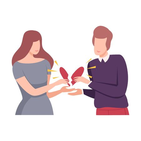Young Man and Woman Holding Broken Heart, People Trying to Save Love and Friendship Flat Vector Illustration on White Background.