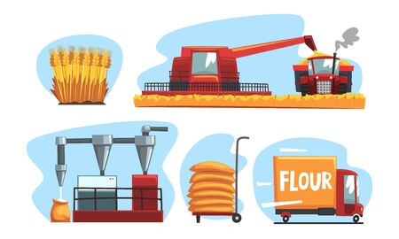 Production of Flour and Bread Set, Industrial Wheat Processing Vector Illustration on White Background