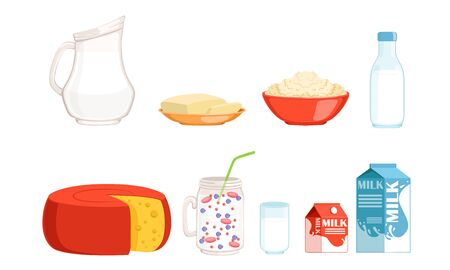 Fresh and Healthy Dairy Products Collection, Cheese, Milk, Butter, Cottage Cheese, Smoothies Vector Illustration